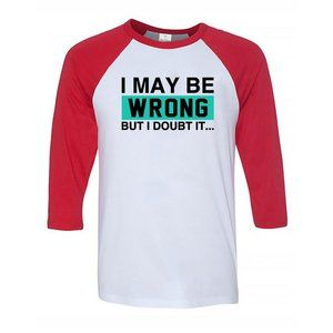 Youth Kids Wrong 3/4 Sleeve Baseball Tee